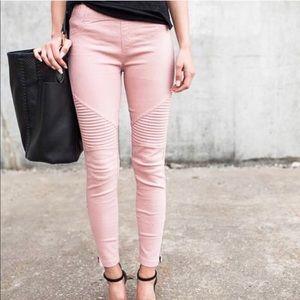 MINDY▪️ moto jeggings skinny blush pink
